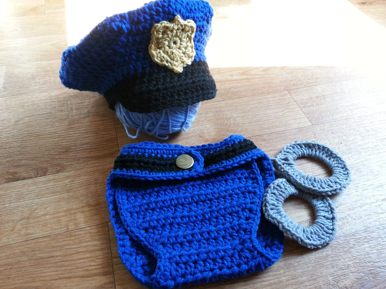 Police Officer Photo Prop Crochet PATTERN PDF