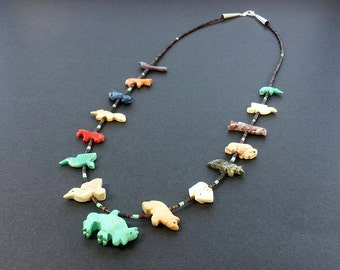 Handmade Buffalo Mixed Animals Fetish Necklace with Black Pen Shell Heishi Beads
