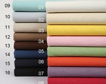 Solid Color Cotton Linen Fabric ,16 Colors alltogether—1/2 yard