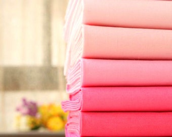 A Series of Pastel Pink Solid Color Cotton Fabric Plain Fabric –1/2 Yard