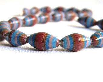 Paper Bead Jewelry Supplies - Paper Beads - Hand painted - Lot of 22 - #B421