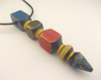 Distressed colorful geometric wooden pendant - eco jewelry