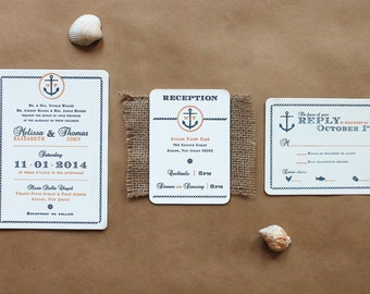 Nautical wedding invitations - beach wedding invitations - boat wedding invitations - yacht club wedding - modern classic invitations -
