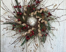 """Winter Christmas Holiday Wreath - 18"""" - Birch, Mixed Pine, Snowy Burlap Curl and Iced Berry"""