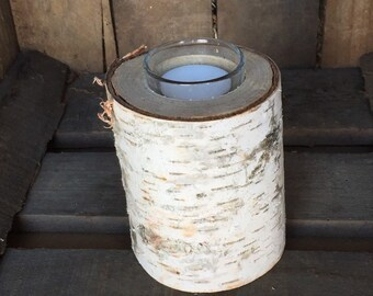 """4"""" Birch Pillar with Glass Tea Light Holder and Candle"""