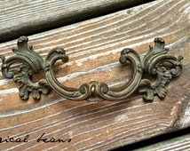 French Provincial Large Brass Pull  /  Waterfall Dresser Handles / Authentic Vintage Restoration Hardware / Victorian Drawer Pulls