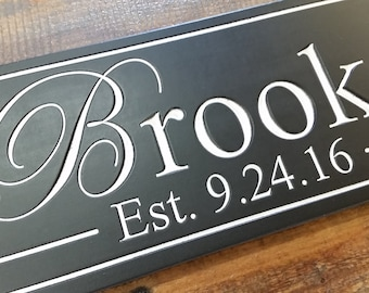 Custom last name sign Personalized Family last Name Established Sign Plaque Last Name Sign Wall Sign Carved Engraved date sign