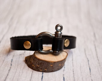 Mens leather nautical shackle bracelet | pulsera hombre | survival bracelet | sailing bracelet | nautische armband |  nautical wristband