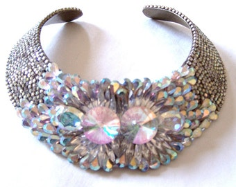 Vintage Multi-Faceted Rhinestone Encrusted Hansen Collar Necklace