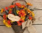 Rustic Hanging  Silk Flower Arrangement - Grateful Hearts - for Rustic Wedding or Home Decor - Door Wreath Floral Arrangement