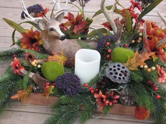 Rustic deer antler centerpiece silk flower camo by