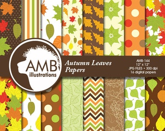 Autumn Leaves Digital Papers, Autumn Scrapbooking Papers, Halloween Leaves Paper, Harvest Backgrounds, Commercial Use,  AMB-144