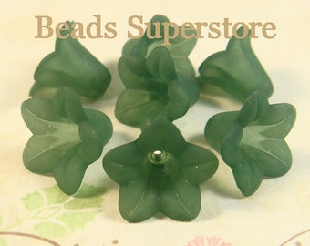 18 mm x 12 mm Teal Lucite Flower Bead - 10 pcs