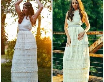 Lace Wedding Dress, Tiered Lace Wedding Dress, Boho Wedding Dress, Boho lace Dress, Halter wedding dress.