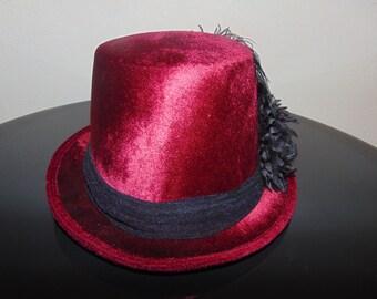 Burgundy Velvet Top Hat