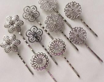 mixed 10 pcs Filigree Bobby Pin Blanks, Silver Flower Hair Pins,mixed brass Hair Clip,mixed hair clip,mixed hair slide,platinum hair pin