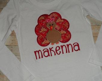 Thanksgiving Turkey Fall Applique Shirt Infant baby toddler girls custom Turkey 0 3 6 9 12 18 months 2t 3t 4t 5t