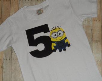 Baby Toddler Boys custom applique birthday shirt Minion 2t 3t 4t 5t 12 month