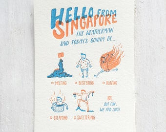 Singapore Summer Letterpress Postcard