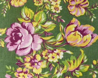 Shabby pink roses flowers on green FLORINE cotton fabric curtain panel - French 50s 60s vintage