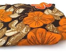 Cotton Floral Fabric, Cotton Fabric, Mid Century Fabric, Retro Vintage Fabric Yardage, Autumn Fabric, Orange and Brown Harvest Fabric, Yards
