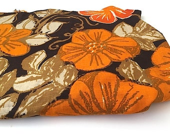 Cotton Floral Fabric, Cotton Fabric, Mid Century Fabric, Retro Vintage Fabric Yardage, Autumn Fabric, Orange and Brown Harvest Fabric, Yards