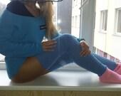 Yoga Socks, VERY LONG SPATS, Long Gaiters, Dancing Spats, Yoga Gaiters, Light Blue Spats, Long and Sexy Leg Warmers, Boot Socks, Warm & Soft