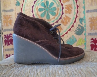 Classic Brown Suede Wedge Ankle Boots Size 7.5