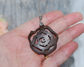 Scroll Carved Rose Pendant Necklace