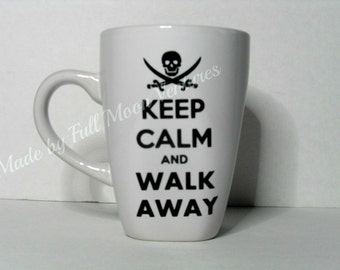 "Coffee cup / mug ""Keep calm and walk away"" large 14 oz. coffee mug"