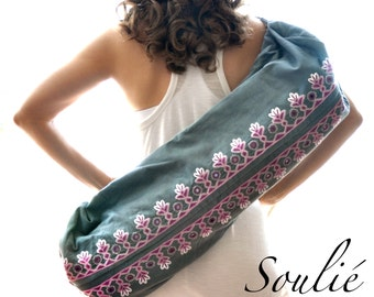 Hand Embroidered Yoga Mat Bag - Grey