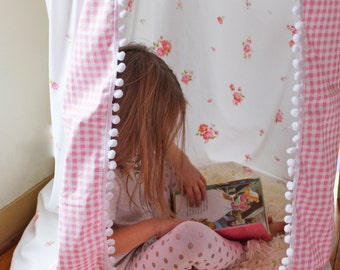 Bed Canopy Play Tent Kids Reading Nook Hanging Corner Vintage Sheet Pink Shabby Chic Girls Room Decor Floral