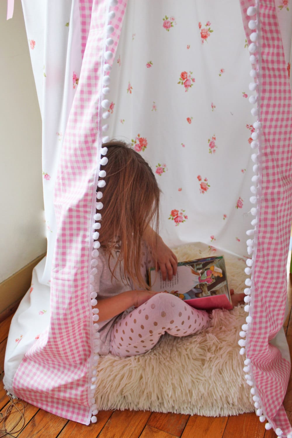 Bed canopy for girls - Bed Canopy Play Tent Kids Reading Nook Hanging Corner Vintage Sheet Pink Shabby Chic Girls Room