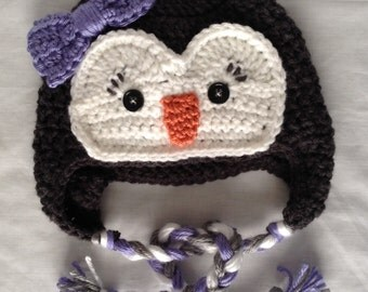 Crochet Baby Girl Penguin Hat - Baby Christmas Gift - Toddler Winter Hat - Toddler Penguin Hat - Newborn Photo Prop -