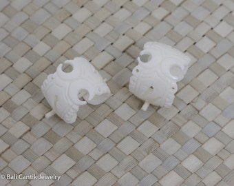 Lace C Bone Earrings, Stick Post Bone Earrings, Bali Cantik Bone Carving Jewelry