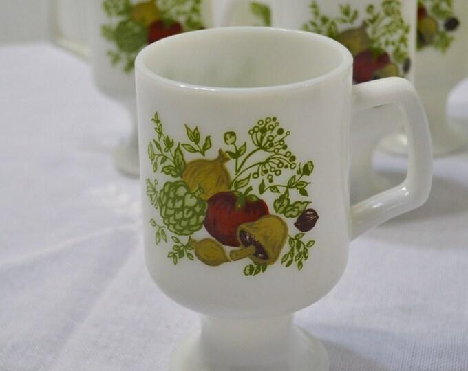 Vintage Spice of Life Pedestal Mug Set of 6 Milk Glass Vegetable Design Retro Kitchen PanchosPorch