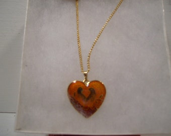 Cloisonne & Gold Heart Necklace with Birds