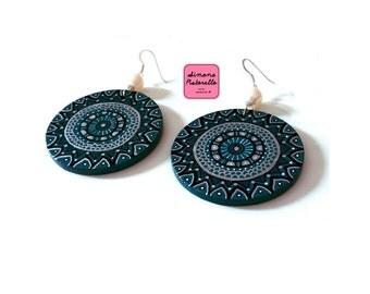 Handpainted wood earrings