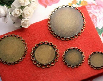 Cabochon blanks cameo bases bottle caps photo glass cabochon pendant trays antique brass double laced glass tiles bases supplies NO.5732