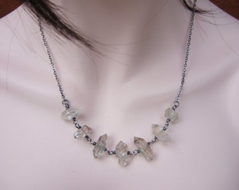 Hand Made Sterling Silver and Herkimer Diamond Crystal Quartz Beads Necklace, Oxidized, Matte Finish, Everyday Necklace