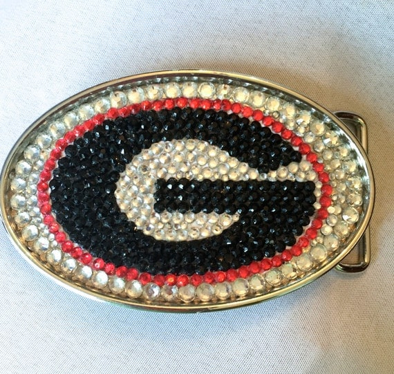 Rhinestone Belt Buckle in Collegiate Logo Design