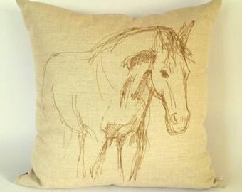 Broodmare Cushion Cover, decorative horse pillow, equine decor, horse decor, filly, stallion, colt, horse sketch design