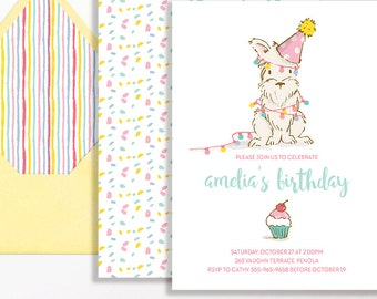 Puppy Invitation Girls Dog Westie West Highland Terrier 1st Birthday Party Pink Aqua Blue Yellow Puppies 2nd 3rd 4th 5th 6th Girl Cupcake