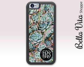 Floral Blue Succulents iPhone 6 Case, Monogrammed iPhone 6S Case, Personalized iPhone Case 1150 I6S