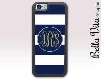 Stripes Gold Glitter Monogram iPhone 5C Case, Monogrammed iPhone 5C Case, Personalized iPhone 5C Case 1168