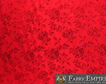 """Satin Floral Jacquard Fabric RED / 58"""" Wide / Sold by the yard"""