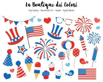 4th of July Clip art, Cute Digital illustrations PNG, Patriotic, american flag, fireworks Clip art, Planner Stickers Commercial Use