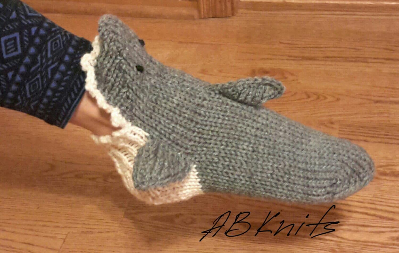 Knitted Shark Socks Pattern : Hand knit gray SHARK SOCKS
