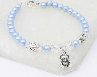 Boys Christening Bracelet with Swarovski Crystals and Pearls and Sterling Silver