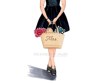 Personalized gifts,Mrs print,Mrs illustration,Personalize drawing,Personalized wedding gift,Girl shopping illustration,Wedding fashion art